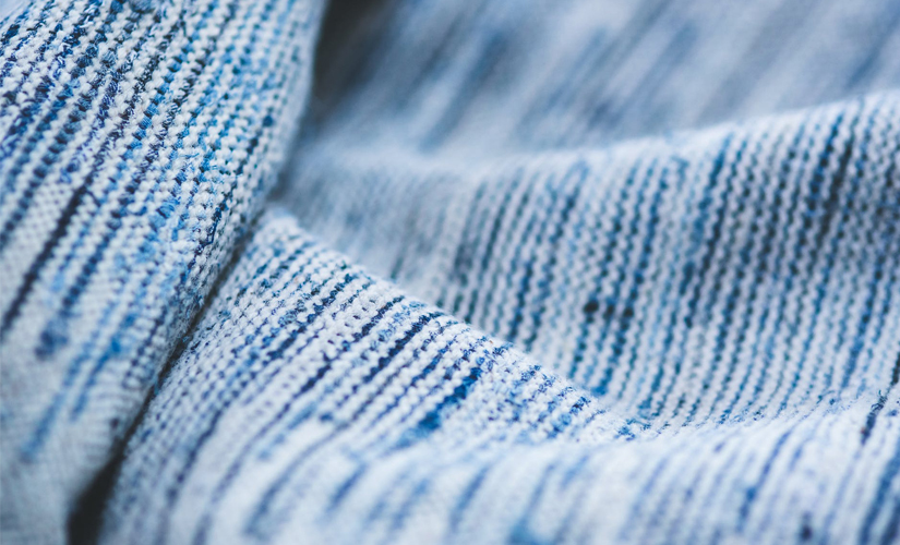 blue and white jute fabric