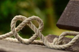 jute rope in shape of heart