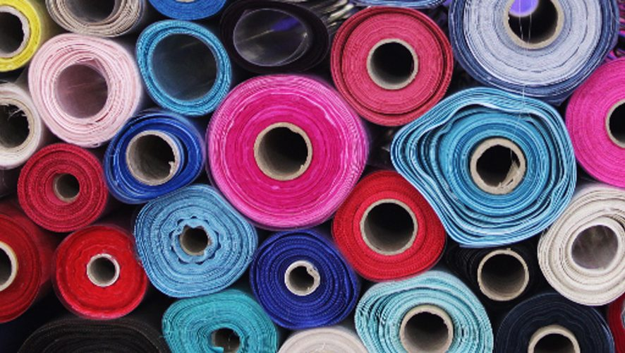 rolls of polyester fabric