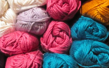 balls of viscose yarn