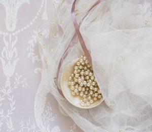 chiffon with pearl pins