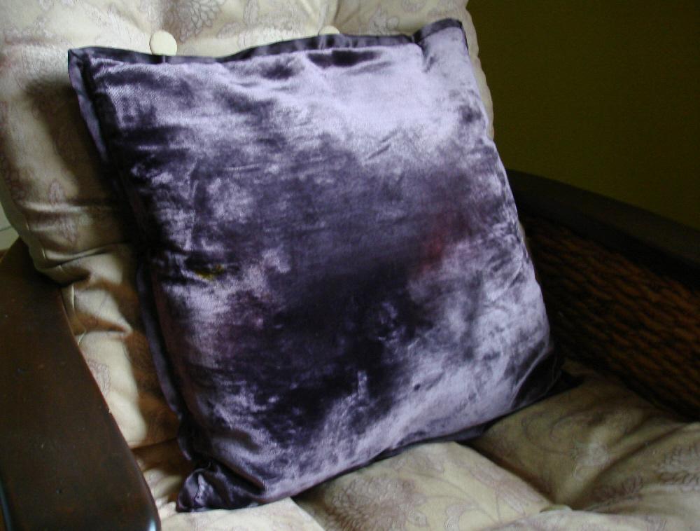purple velour cushion