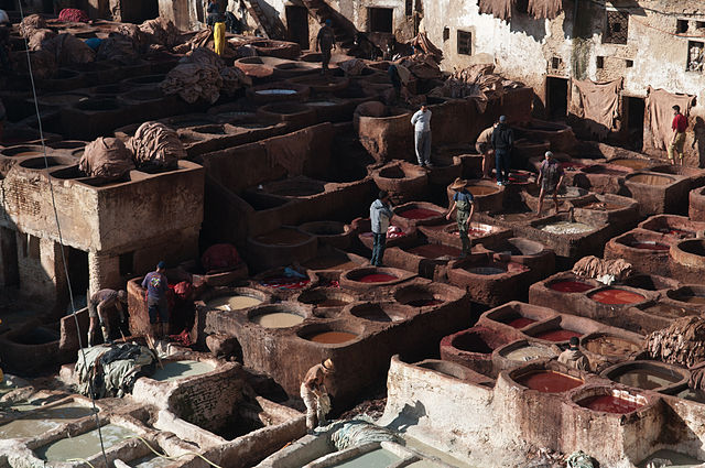 leather tanning in fes, morocco