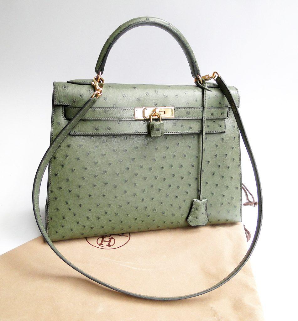 ostrich leather Hermès bag